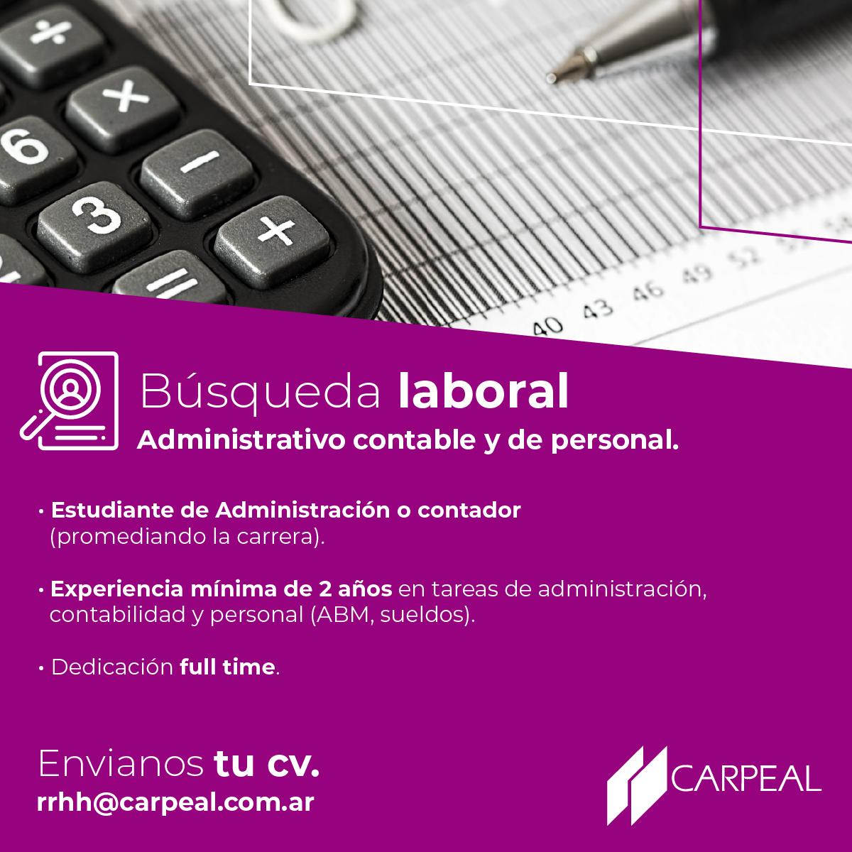 CARPEAL - Búsqueda Laboral - Administrativo contable y de personal.